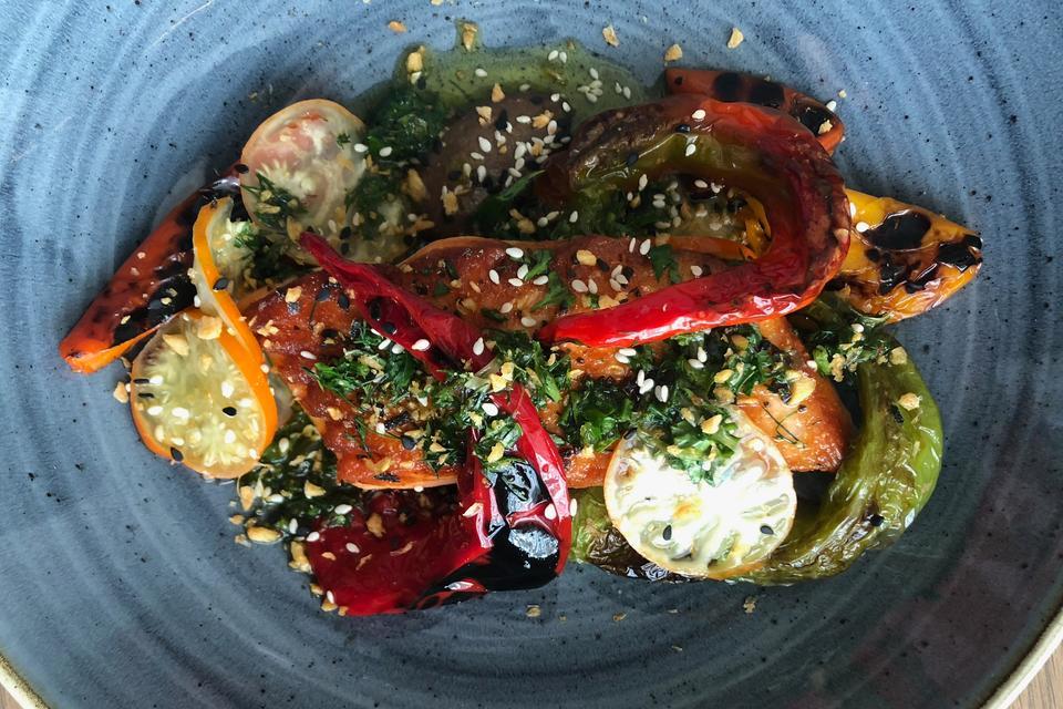 BIÂN Chef Ryan Maher's Seared Ora King Salmon Recipe With Grilled Peppers, Eggplant & Chimichurri