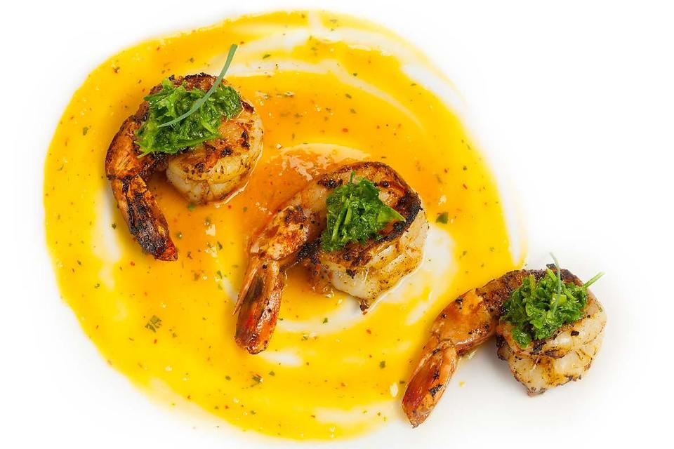 ​Chef Adrianne Calvo's Mango Habanero Glazed Shrimp With Cucumber Salsa Verde Celebrate Mango Season
