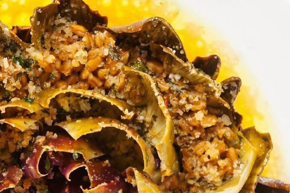 Chef Adrianne Calvo's Garlic Lemon Butter Steamed Artichokes With Farro Recipe Will Blow Your Mind