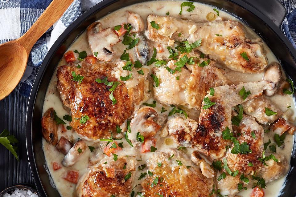 Chicken Fricassee Recipe: The Creamy Wine Sauce in This Easy Chicken Fricassee Recipe Is Heavenly