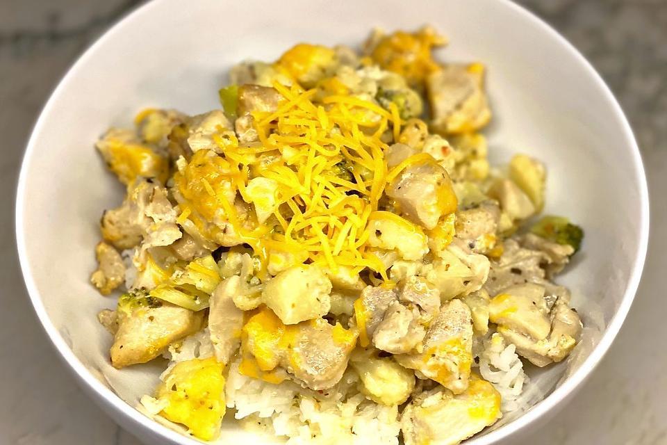 Creamy Chicken Cauliflower Casserole Recipe: Chicken + Broccoli + Cauliflower + 2 Cheeses = Heaven