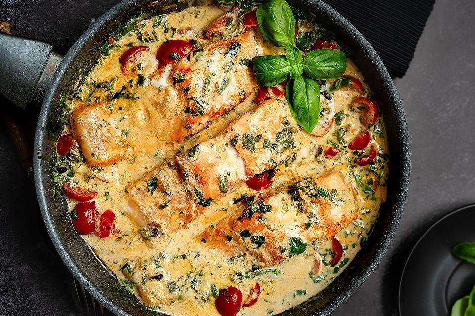 Mediterranean Salmon Recipe: Creamy Tuscan Salmon Recipe With Tomatoes, Spinach & Parmesan