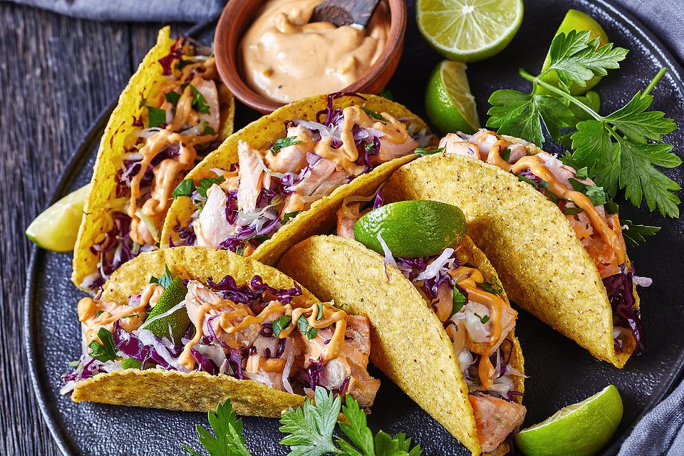 Easy Salmon Tacos Recipe: Salmon Tacos With Red Cabbage Cilantro Slaw & Chipotle Sauce