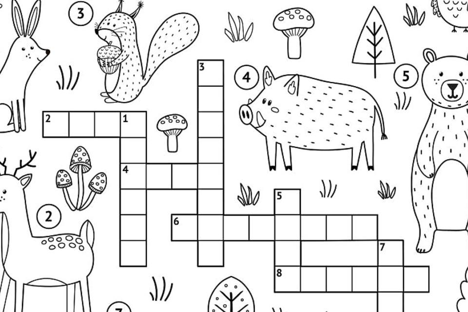 Crossword Puzzles for Kids: Fun & Free Printable Crossword Puzzle Coloring Page Activities for Children