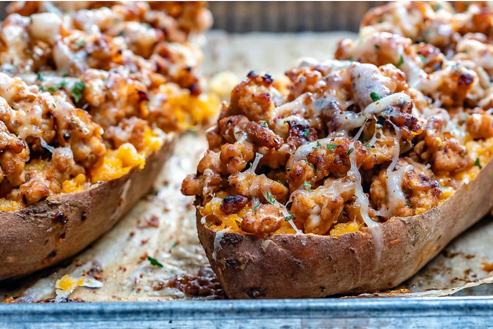 This Double Baked Chipotle Chicken Sweet Potatoes Recipe Will Be Your Clean-Eating Crush