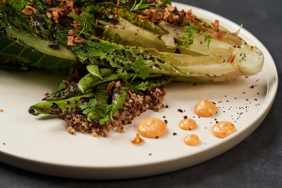 Grilled Romaine Lettuce With Creamy Sriracha Dressing: This Grilled Salad Is the New Way to Make a Caesar Salad
