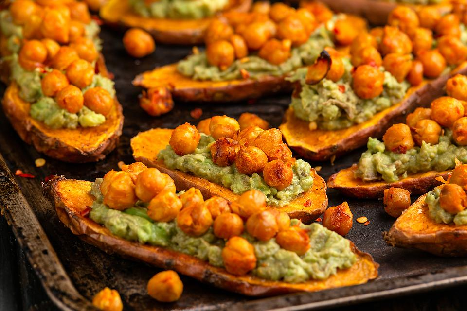 Healthy Appetizer Recipes: Spicy Roasted Sweet Potatoes Recipe With Guacamole & Roasted Garbanzo Beans