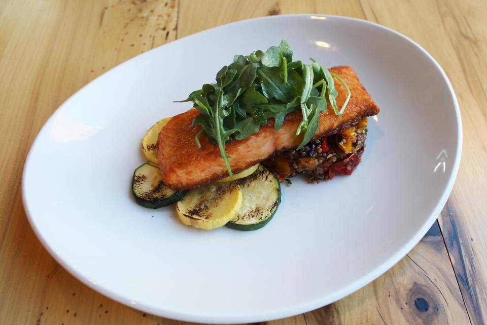 LYFE Kitchen's Herb Roasted Salmon With Quinoa Ratatouille & Basil Vinaigrette