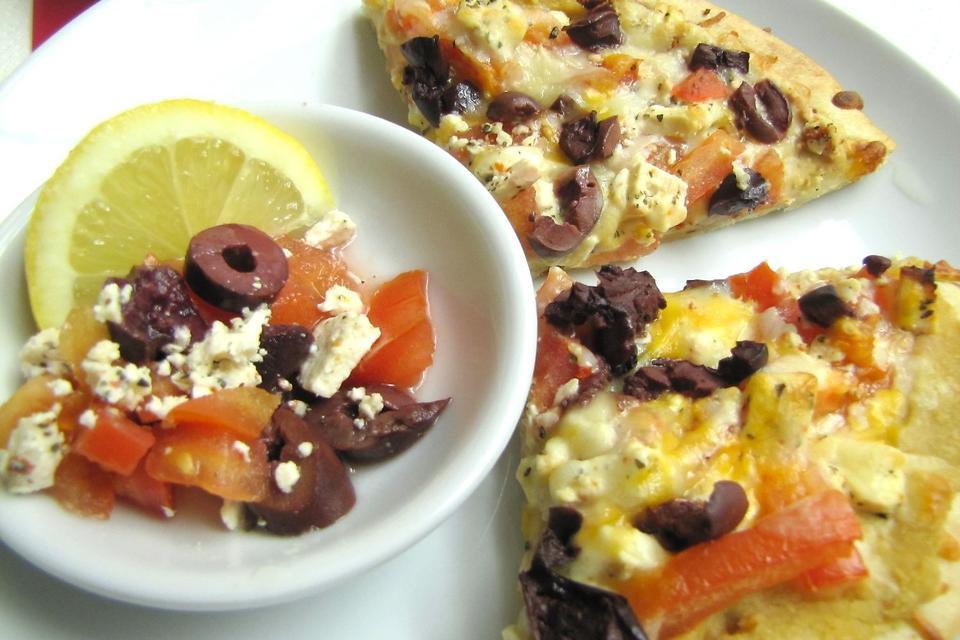 Mediterranean Pizza: Hummus, Olives & Feta Cheese Add a Unique Twist to Pizza Night!