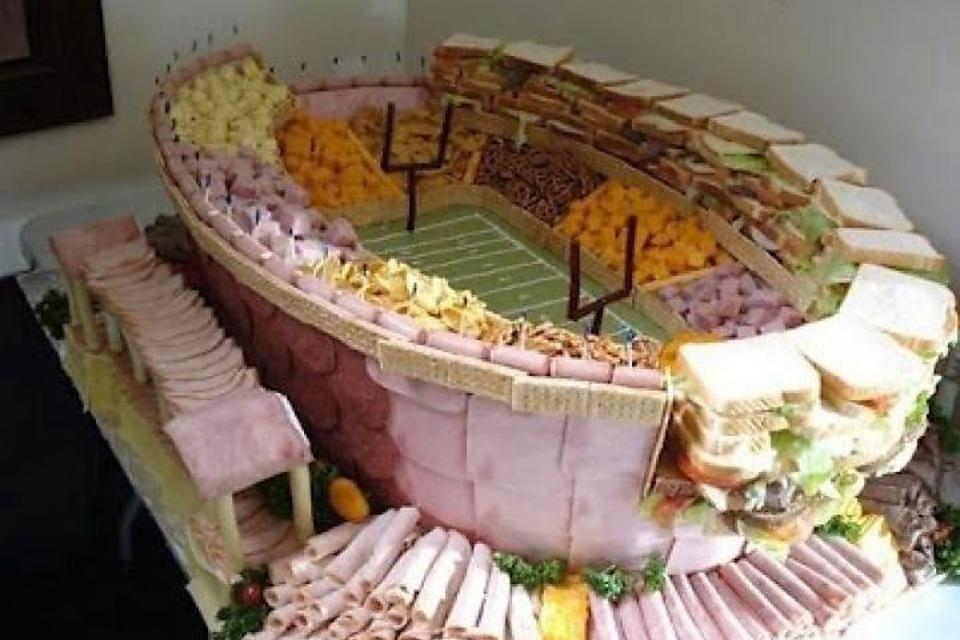 how to build a winning super bowl football sandwich display