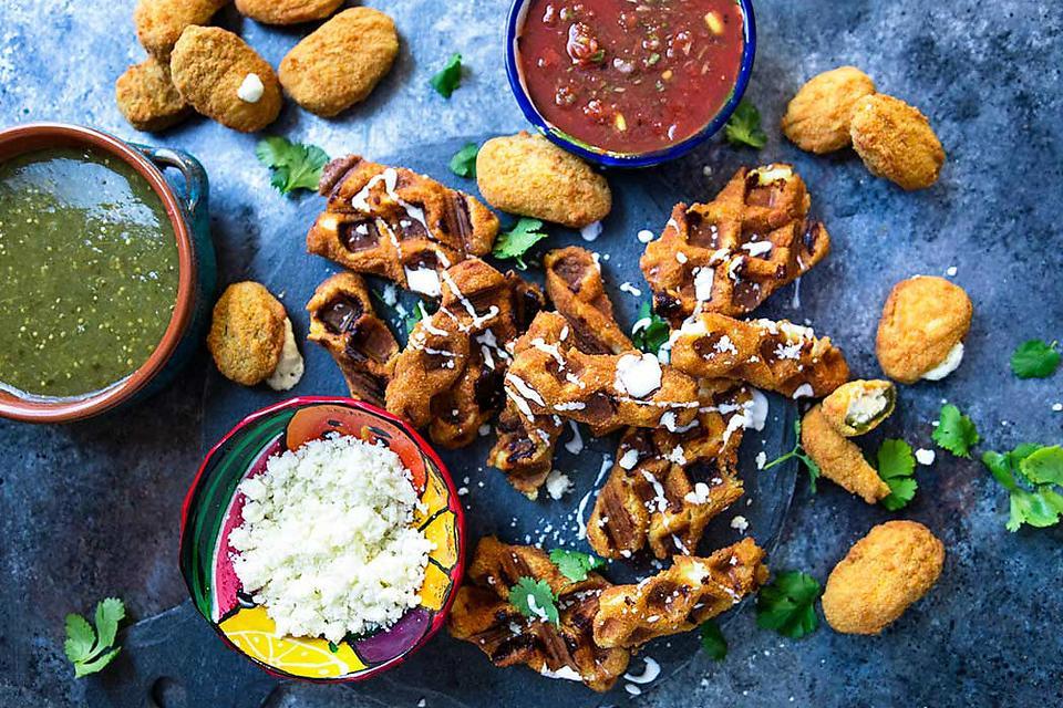 Super Bowl® Snacks: How to Make Wafflized Mozzarella Sticks With Salsa!