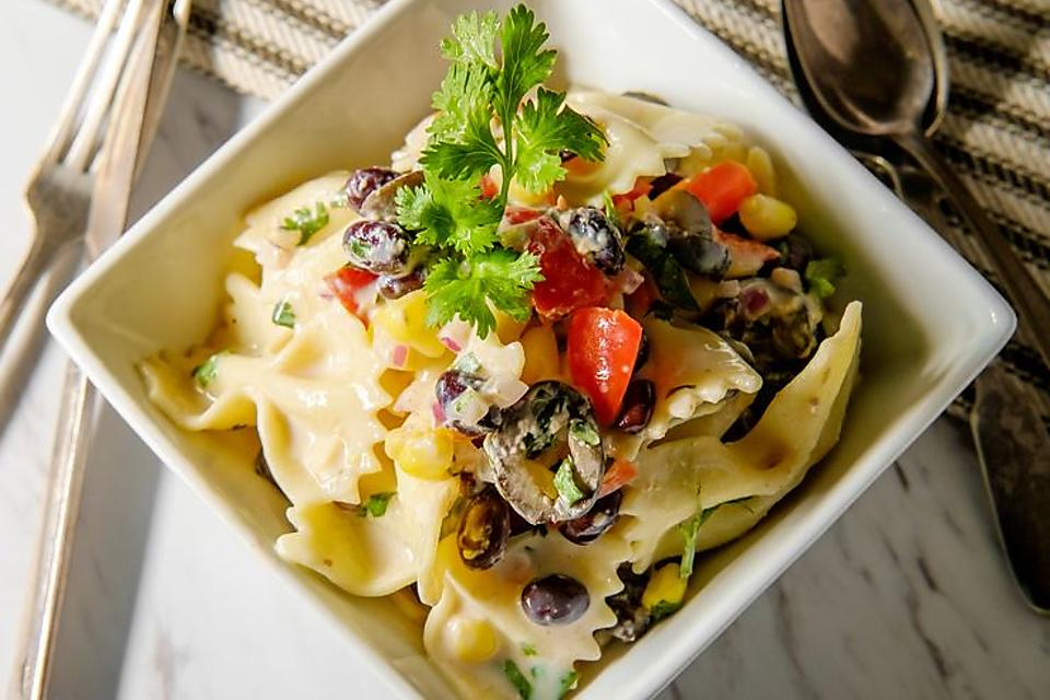 Tasty Tex-Mex Black Bean Pasta Salad Recipe With Roasted Corn & Avocado Cilantro Lime Dressing