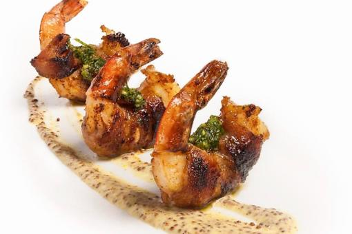 Bacon-Wrapped Shrimp: Chef Adrianne Calvo's Recipe Gets a Flavor Boost With Miso Hot Honey Mustard & Cilantro Salsa!