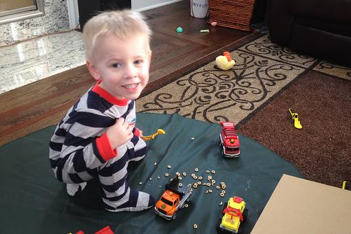 Bad Weather Toddler Activity: Build a Construction Site!