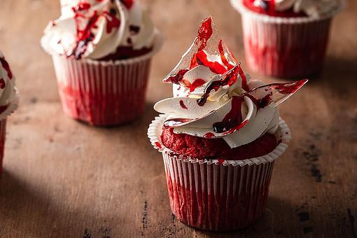 Best Halloween Recipe: Blood Red Velvet Cupcakes Recipe With Broken Glass Shards & Candy Blood May Win Halloween