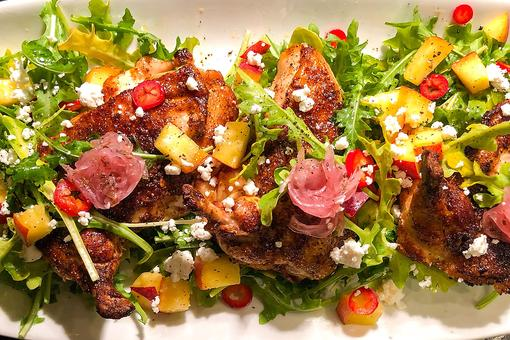 Chef Adrianne Calvo's Chicken Supreme With Peaches, Goat Cheese & Pickled Onions