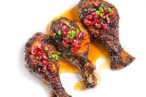 Chef Adrianne Calvo's Miso Chicken Drumsticks Recipe With Maple Horseradish Pomegranate Glaze Is What's for Dinner