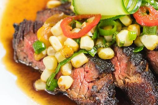 Chef Adrianne Calvo's Marinated Skirt Steak With White Corn & Pepper Relish & Spicy Soy Sauce