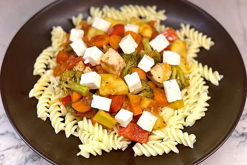 Easy Chicken Vegetable Stir-Fry Recipe: This Tangy Stir-Fry Pasta Is Topped With Flavorful Feta