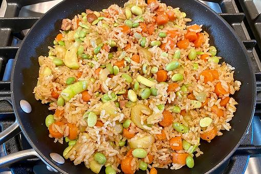 Easy Fried Rice Recipe: Tasty 15-Minute Fried Rice With Chicken Sausage & Vegetables