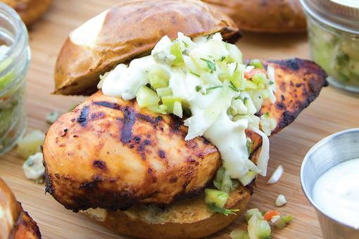 Easy Chicken Sandwich Recipe: Blowout Buffalo Chicken Sandwich Recipe With Blue Cheese Slaw