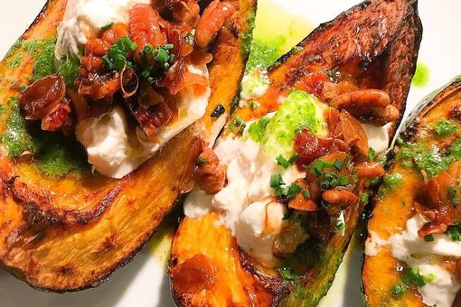 Make Chef Adrianne Calvo's Acorn Squash With Burrata, Garlic Brown Butter, Pecans & Salsa Verde