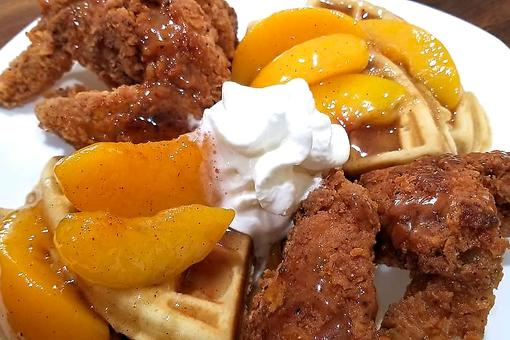 Fried Chicken & Peach Cobbler-Glazed Waffles Is a Breakfast & Brunch Mic Drop