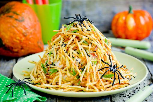 Fun Halloween Recipes: Spooky Fried Potato Straws Recipe Looks Like a Spider Nest