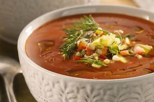 Heirloom Tomato Soup Recipe: This Chef-Created Heirloom Tomato Soup Features a Savory Succotash Topping