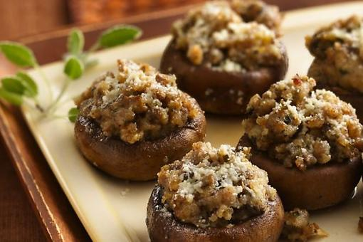 Easy Appetizers: Stuffed Mushrooms With Sausage, Sherry & Parmesan Cheese