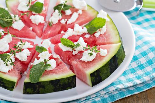 Watermelon Pizza With Feta & Herbs Is Summer Snacking Perfection