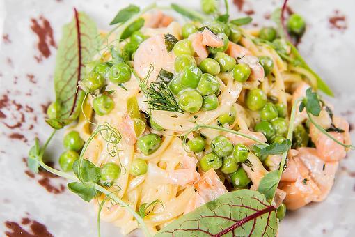 Creamy Salmon Pasta Recipe: Linguine With Salmon, Peas & Crème Fraiche Sauce Is Simple Mediterranean Cooking