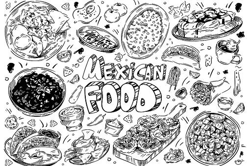Mexican Food Coloring Pages: Free Printable Coloring Pages of Tacos, Burritos, Queso, Guacamole & More
