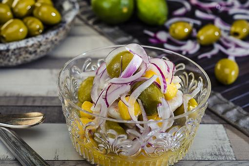 This Olive Ceviche With Prawns & Mango Recipe Is a Fusion of Flavors