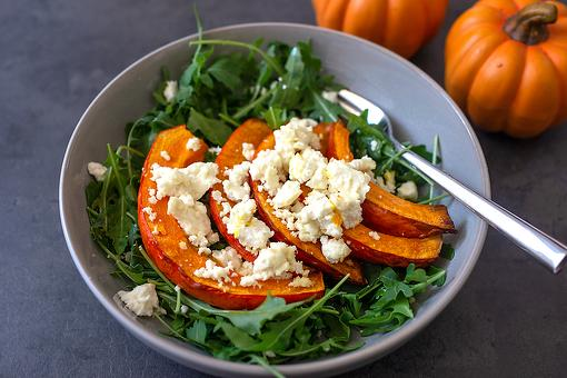 The Perfect Fall Salad Recipe: Roasted Pumpkin, Feta & Arugula Salad Recipe With Pumpkin Vinaigrette