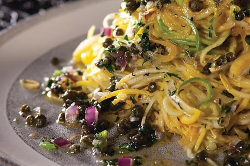 This Vegan Zephyr Squash Ribbons With Almond Salsa Verde Recipe Is Almost Too Pretty to Eat