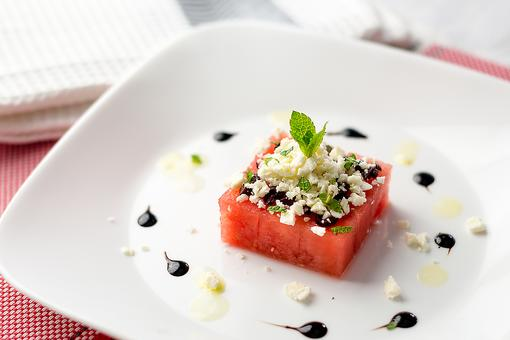 One-Bite Appetizers: Watermelon Feta Bites With Balsamic Reduction Are Hip & Healthy