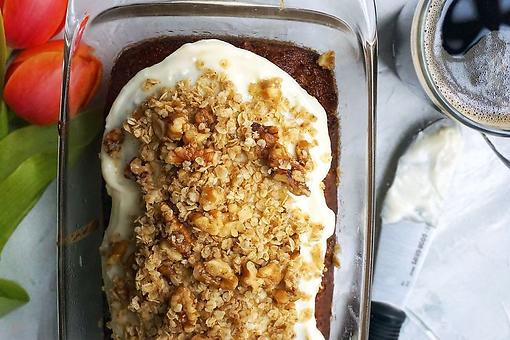 Whole Wheat Date Nut Bread Recipe With Cardamom Crumble & Honey Cream Cheese Icing