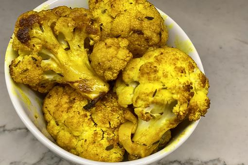 Zesty Turmeric Cauliflower Recipe: This Broiled Cauliflower Recipe Is Popping With Turmeric & Rosemary