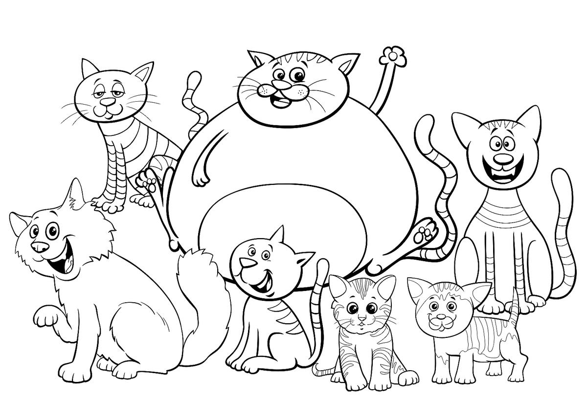 Free Cat Coloring Pages Purr Fect