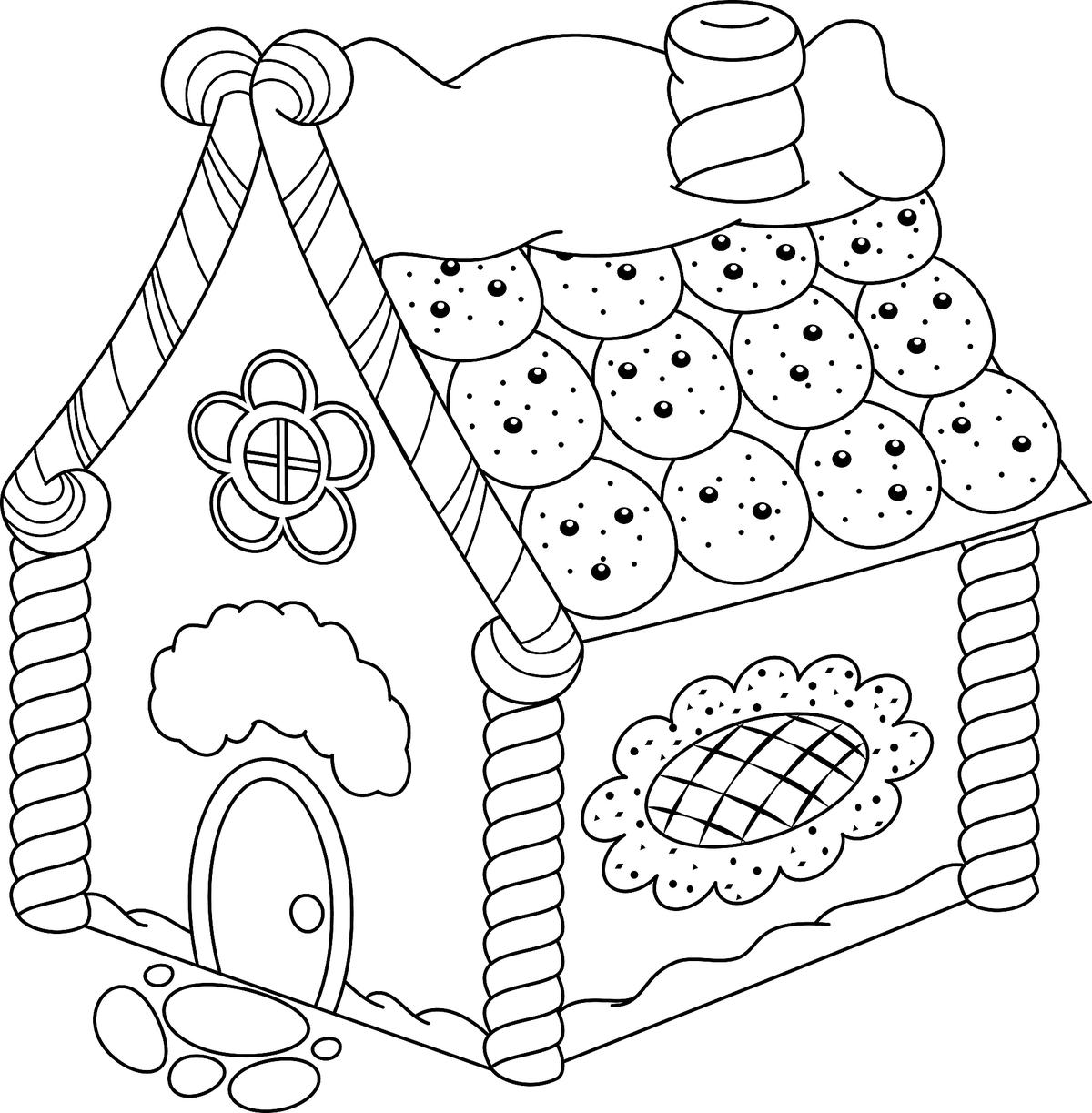 Gingerbread House Coloring Pages: Printable Coloring, Activity ...