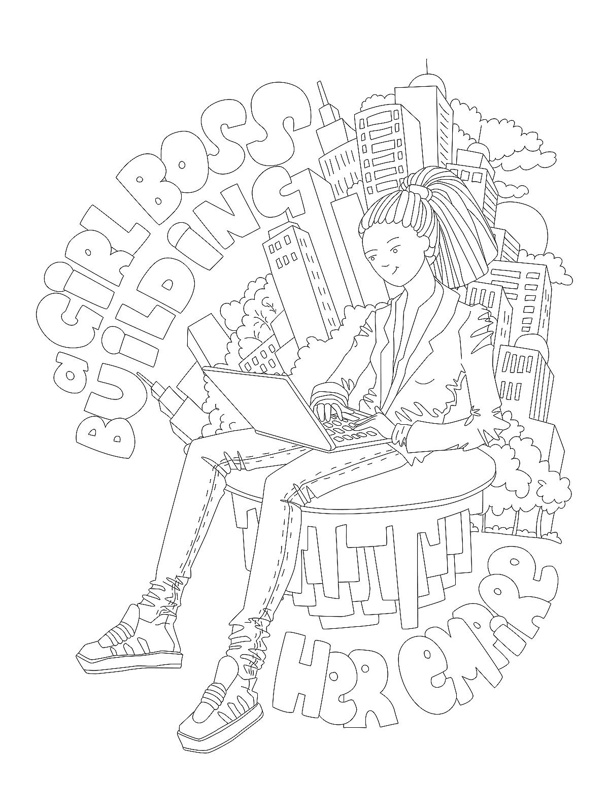 Line Artsy - Free adult coloring page - Time (uncolored) | Free ... | 1600x1200