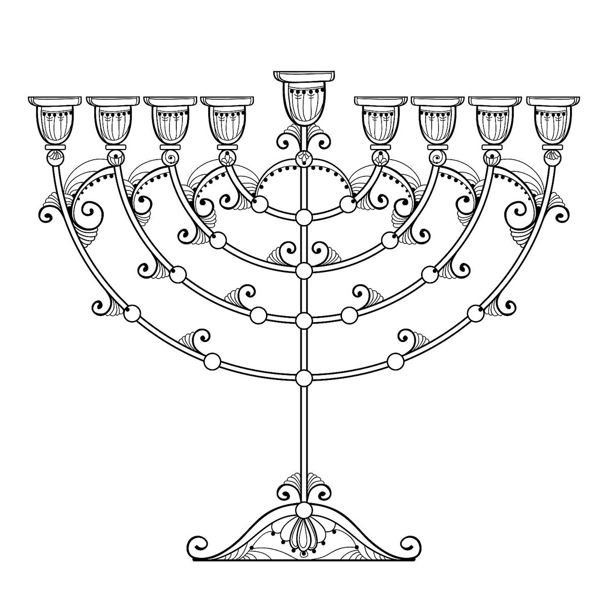 Happy Hanukkah Kids Coloring Pages Printable | 1200x1200