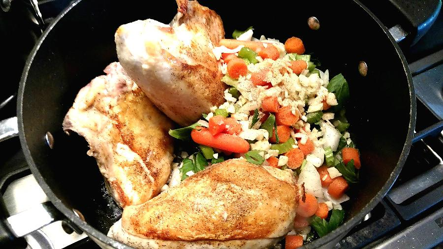 Chicken Browned And Vegetables In