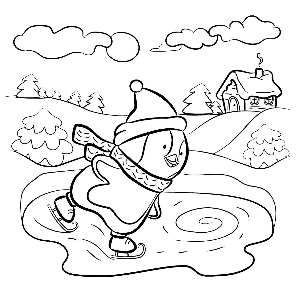 winter activities coloring pages | Winter Puzzle & Coloring Pages: Printable Winter-Themed ...