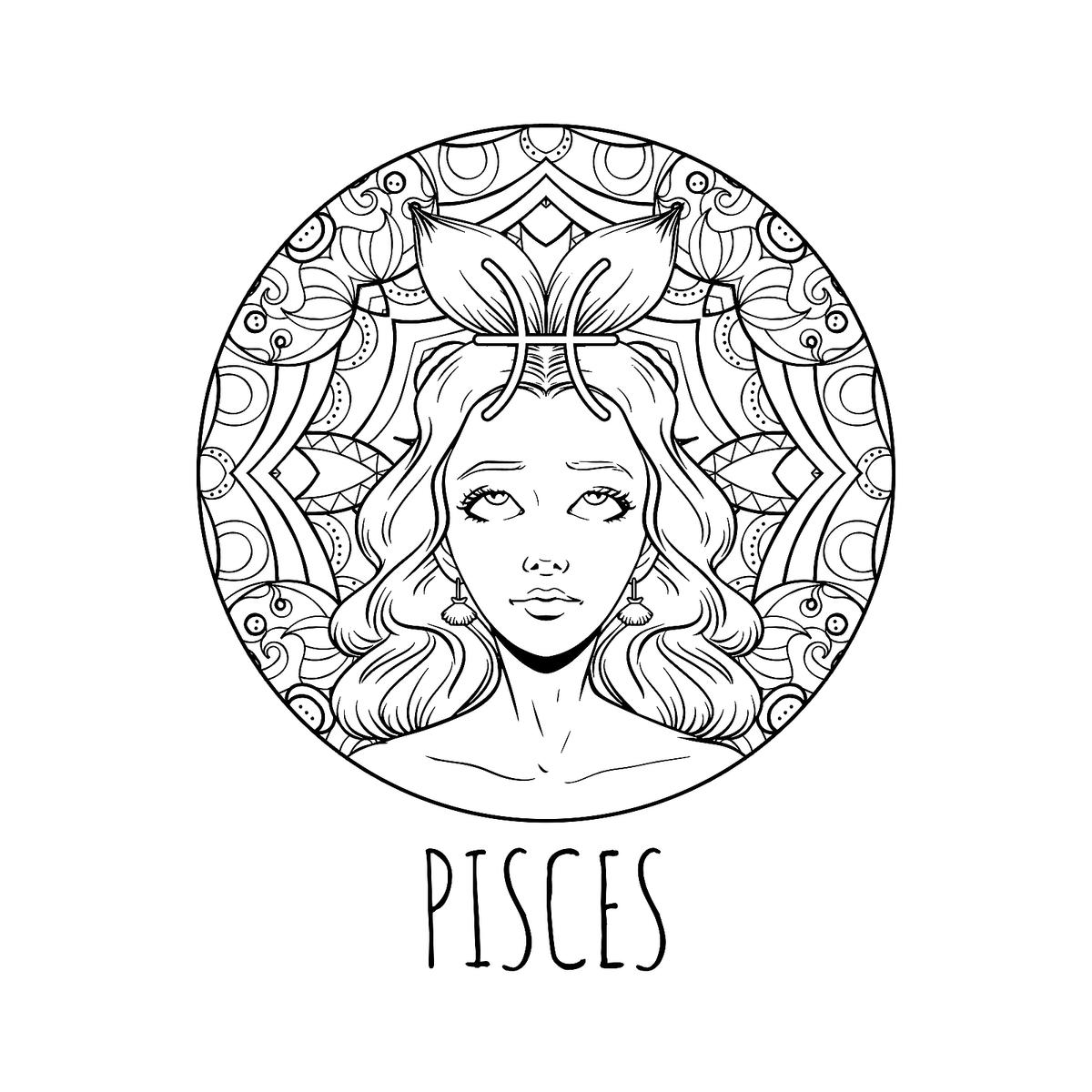 Coloring Page Book For Adults Square Format Zodiac Signs Wheel ... | 1200x1200
