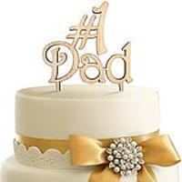 #1 Dad Wooden Cake Topper