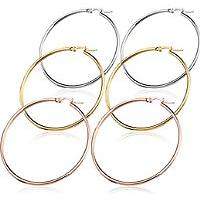 3 Pairs Stainless Steel Hoop Earrings