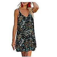 AlvaQ Women Summer Spaghetti Strap Button Down V Neck Sleeveless Casual Mini Dress