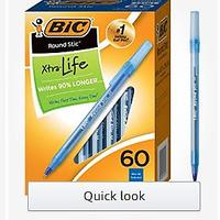 BIC Round Stic Xtra Life Ballpoint Pen, Medium Point